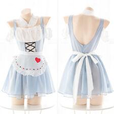 Kawaii Alice Cosplay Transparent Open Back Dress Sexy Woman's Maid Uniform Suit