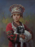 ZWPT671 tibet girl hold little sheep animal hand painted art oil painting canvas