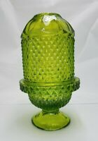 Viking Glass Vintage Green Diamond Point Fairy Tea Light Candle Lamp