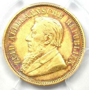 1896 South Africa Zar Half Pond Gold Coin 1/2P - PCGS AU53 - Rare Certified Coin