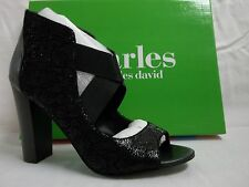 Charles By Charles David Size 9 M JuJu Black Suede Heels New Womens Shoes