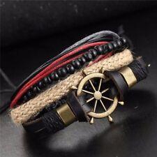 Braided Leather Sea Rudder Beaded For Men Women Jewelry Bracelets Wrap Rope