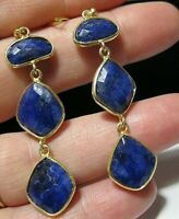 Beautiful Jewellery Sterling SILVER Natural Sapphire 25.19cts Gem Stone EARRINGS