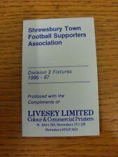 Accesorio de lista: Shrewsbury Town 1986/1987 - Tarjeta de página de cuatro partidarios de fútbol Trasero