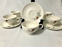 6 Vintg Mid Century Stetson Marcrest Pine Cone Tea Cups and Saucers Green Brown