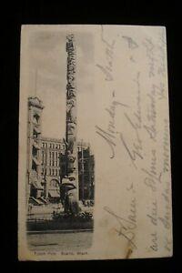 1906 SEATTLE WA TOTEM POLE NEAR HOTEL SEATTLE UDB PC WITH SPOKANE  RPO CANCEL