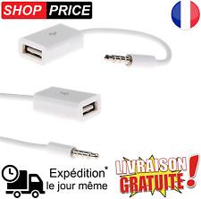 Câble Jack 3.5mm Stéréo Audio Prise Mâle Vers USB 2.0 Femelle Adaptateur (NEUF)