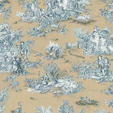 Textiles français Toile de Jouy Fabric (La Grande Vie Rustique) Golden Beige