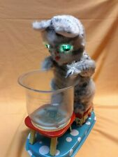 Rare Linemar Hungry Cat Battery Operated Tin Toy, Made in Japan