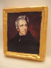 Andrew Jackson American President Gold Art Icon on Genuine Pine Wood Plaque