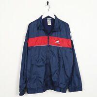 Vintage 90s Adidas Piccolo Logo Soft Shell Giacca a Vento Blu Navy Medio