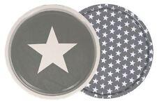 Grey with White Stars, Round Metal Serving Tray tea snacks - 2 varieties