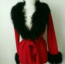 Nwt Real Fur Nicole Miller Lambswool Red Cardigan Belted High end Sweater $265