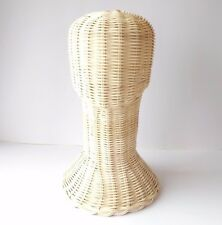 Head Wig Hat Stand Display Wicker Mannequin Folk Rattan Vintage Holder Handmade