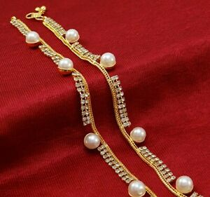 Traditional Goldplated CZ Stone Anklet Jewelry Bollywood Ankle Bracelet Jewelry