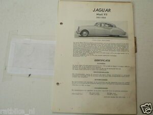 J6--JAGUAR MARK VII 1951-1954 SALOON SEDAN ,TECHNICAL INFO CAR CLASSIC