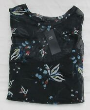 LADIES MARKS AND SPENCER NAVY FLORAL TOP TWO PART SET SIZE 20