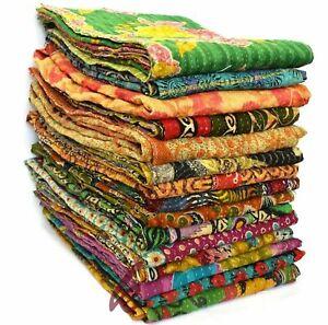 Kantha Quilt Indian Vintage Reversible Handmade Blanket Wholesale 10 Pcs Lot