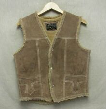 S3419 Roberts Size 38 Sherpa Style Brown Leather Snap Up Vest Horse & Mountains