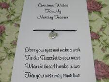 Nursery Teacher Christmas Wishes Wish Bracelet Gift Apple Charm Anklet Present