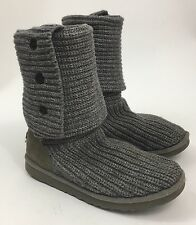 UGG Classic Gray Cardy Button Detailed Style 5819 Knit Boots 9 M Damaged