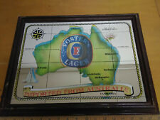 Fosters Lager Beer Used Bar Mirror Man Cave Sign Rare Import Australla Map