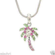 W Swarovski Crystal Crystal Palm Tree Hawaii Pink Tropical Necklace Pendant
