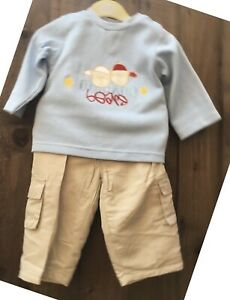 NEW Two Piece Baby Boys Outfit Top & Chino Style Trousers Age 9-12 Months T4
