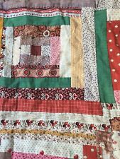 Antique Old Primitive Fabric Quilt Top Remnants