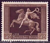 THIRD REICH Mi. #671 scarce mint MNH Braunes Band stamp! CV $180.00