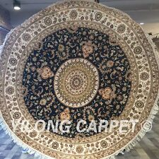 Yilong 6.5'x6.5' Round Hand Knotted Silk Carpets Circular Classic Area Rug Y421C