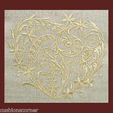 """Laura Ashley Linen Embroidered Metallic Gold Heart 16""""x16"""" 40cm Cushion Cover"""