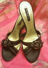 NEW ♡ NINE WEST ~  WOMEN'S BLACK LEATHER WOODEN WEDGE HEELS ♡ SIZE 8 1/2 ♡