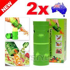 2x Vegetable Spiral Slicer Spiralizer Twister Fruit Cutter Peeler Kitchen Tool