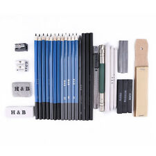 Professional Drawing Artist Kit Set Pencils and Sketch Charcoal Art 33 Pcs Tools