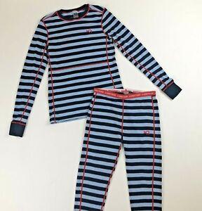 Kari Traa Red/Blue Striped Base Layer Set Sz S/M Merino Wool L/S Top & Leggings