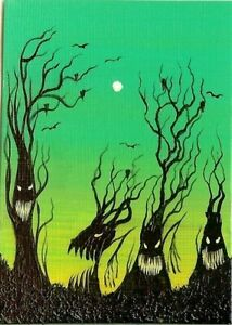 ACEO Original Fantasy ATC Whimsical Creepy Forest Halloween Painting Art HYMES
