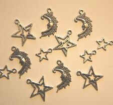 Charm MIX ~ Moon & Star Charms ~ Antiqued Silver Plate ~ 3 designs ~ 12 charms