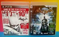 Batman Arkham Asylum + Arkham City Game Lot - PS3 Sony Playstation 3 Tested