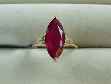 Rare 4.66Ct Malagasy Ruby Marquise & White Zircon 10K Y Gold Ring Size N-O/7