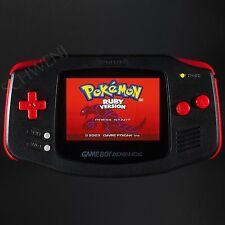 Backlit Game Boy Advance - Black & Red - Nintendo Backlight Mod GBA AGS-101