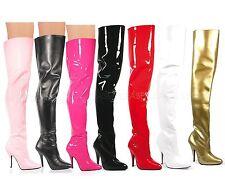 "Pleaser Seduce-3010 Sexy 5"" Heel Classic Plain Thigh High boots Sizes 6-16"