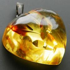 Art Deco - Sehr schöner Silber Anhänger mit Bernstein Herz von Fischland  B3181!