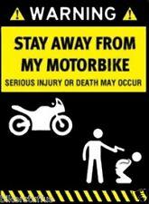 WARNING STAY AWAY FROM MY MOTORBIKE HELMET STICKER HARD HAT STICKER