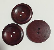 10 X 40mm Reddish Brown Wooden Buttons - Australian Supplier