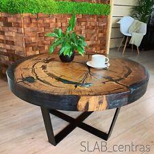 Coffee Table, Oak Slab And Black Metallic Epoxy, Handmade