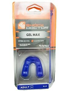 NEW Shock Doctor Gel Max Convertible Mouth Guard Adult Blue Classic Fit Sports