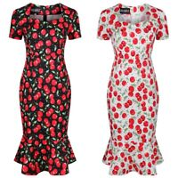 Ro Rox Cherry Print Vintage Retro 50s Rockabilly Work Party Pencil Trumpet Dress