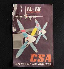 Vintage Czechoslovak Airlines CSA IL-18 Turbo Prop Luggage Sticker
