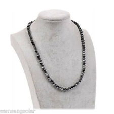 Hematite Black Magnetic Round Ball Beads Strand Choker Necklace 18""